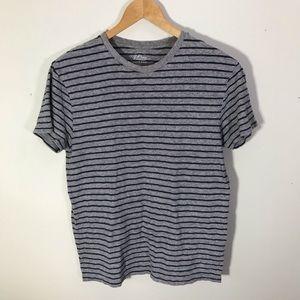 J. Crew Field Knit Gray Blue Striped T Shirt